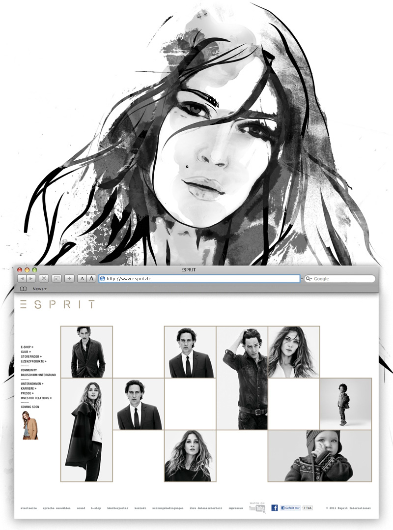 ESPRIT Campaign 2011 BW browser illustration 800px